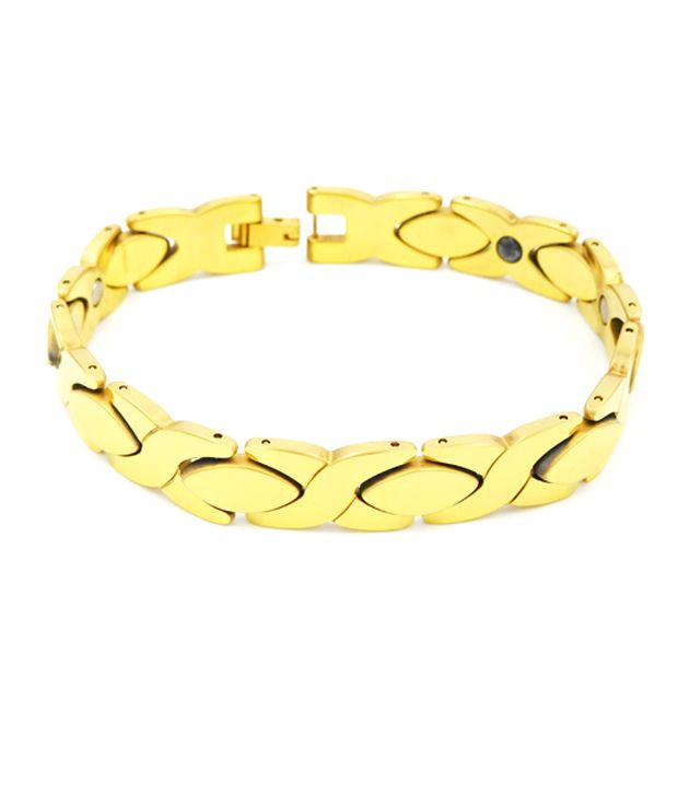 Tungsten 18 Carat Gold Plated Bio Magnetic Bracelet Sk