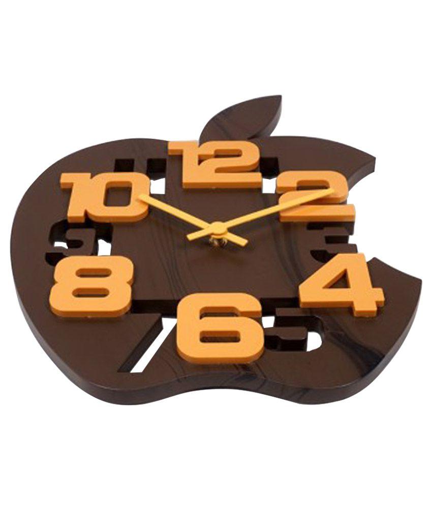 Sk Brown Wooden 3d Apple Shape Wall Clock