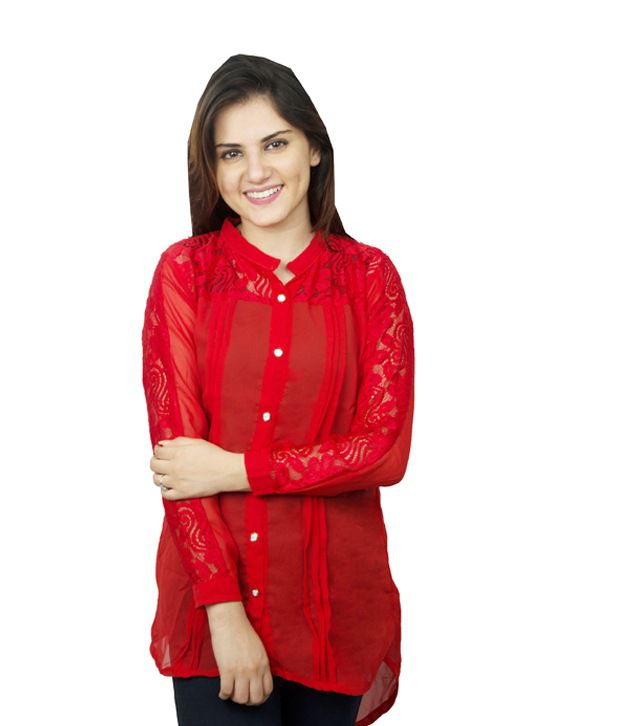 Kaaf Fashion Red Poly Georgette Shirts