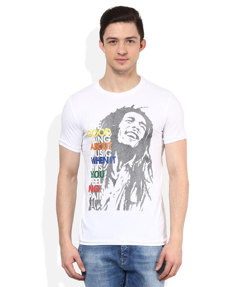 Status Quo White Half Sleeve Round Neck T-Shirt