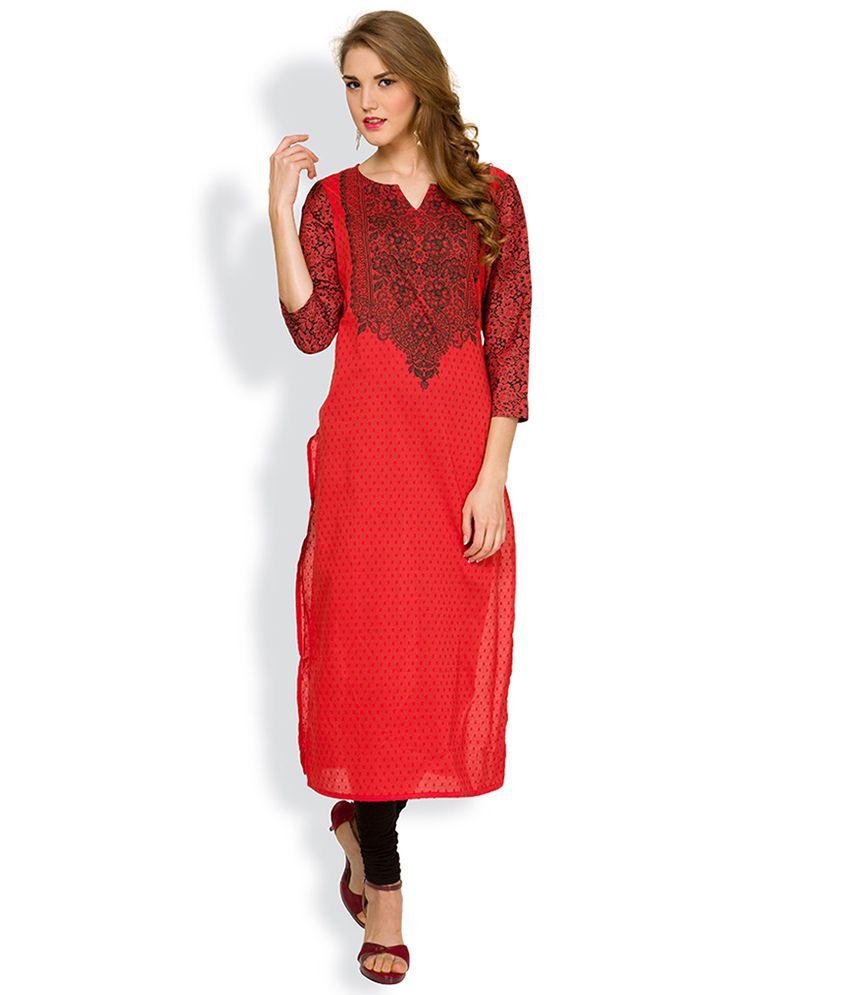 c78734ef470 Vishudh Red Printed Kurta - Buy Vishudh Red Printed Kurta Online at Best  Prices in India on Snapdeal