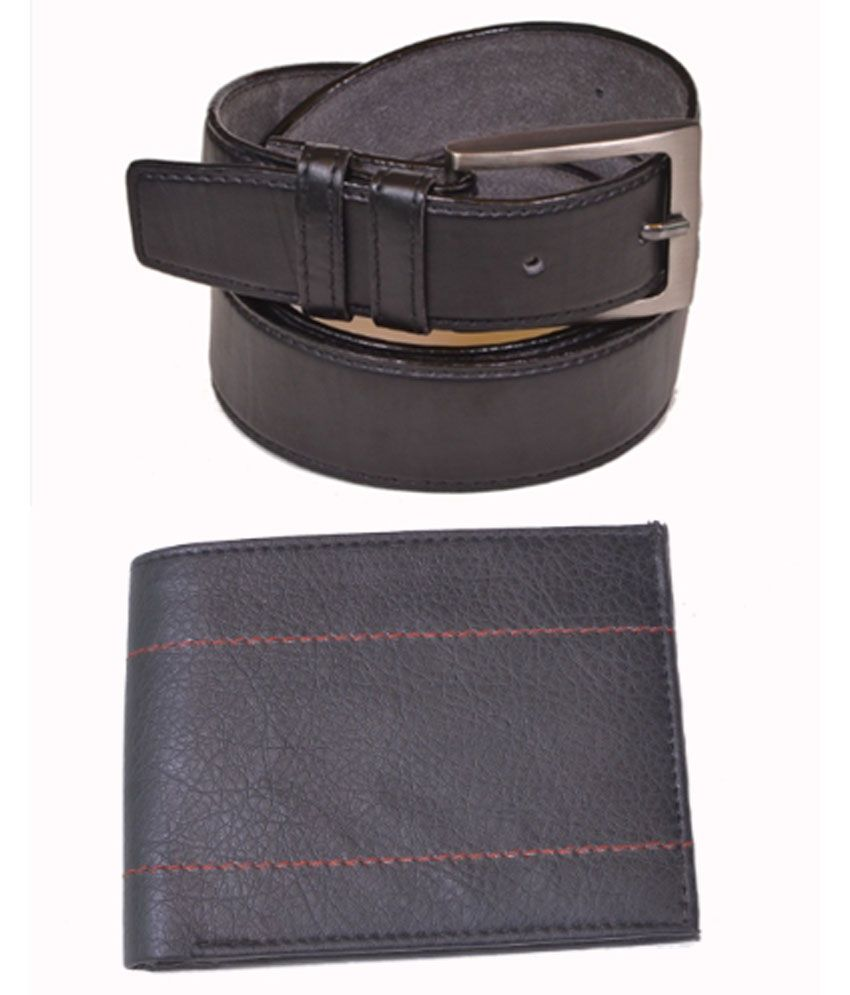 Daller Black Single Casual Belt For Men With Wallet
