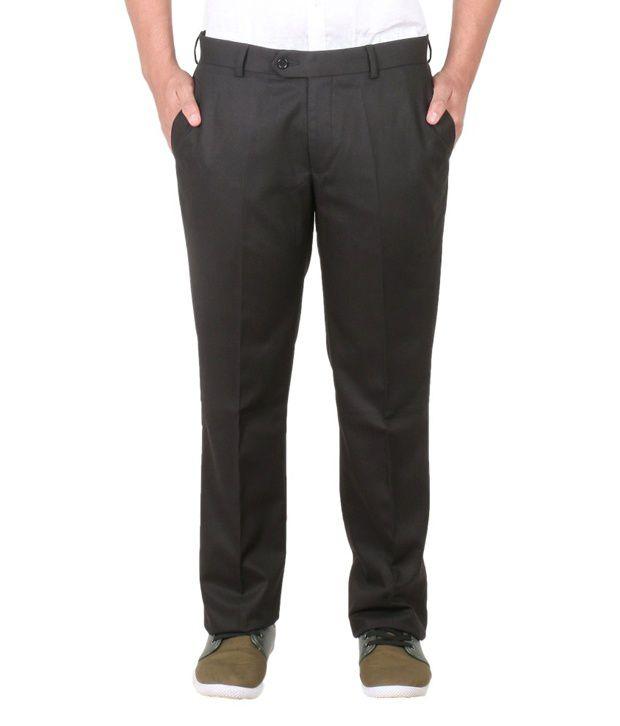 Easies Black Slim Fit Casuals Trouser
