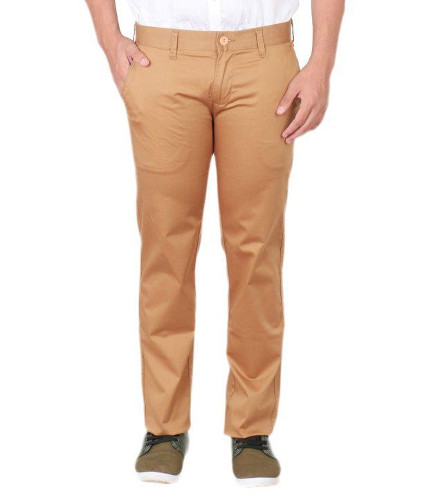 Easies Brown Slim Fit Casuals Trouser