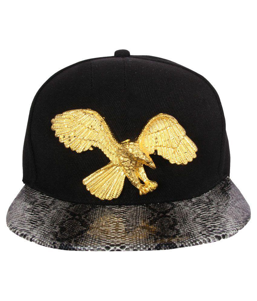 Fabseasons Black & Golden Cotton Hip Hop Cap