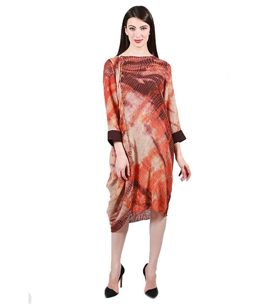 0254feb07b0f Loom1905 By Rinku Sobti Brown and Orange Cotton Dresses - Buy Loom1905 By  Rinku Sobti Brown and Orange Cotton Dresses Online at Low Price - Snapdeal