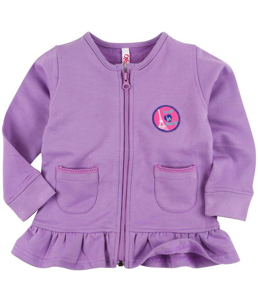 Oye Purple Fleece Zipper Sweatshirt