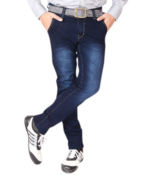 GYPSI Blue Cotton Blend Slim Fit Jeans