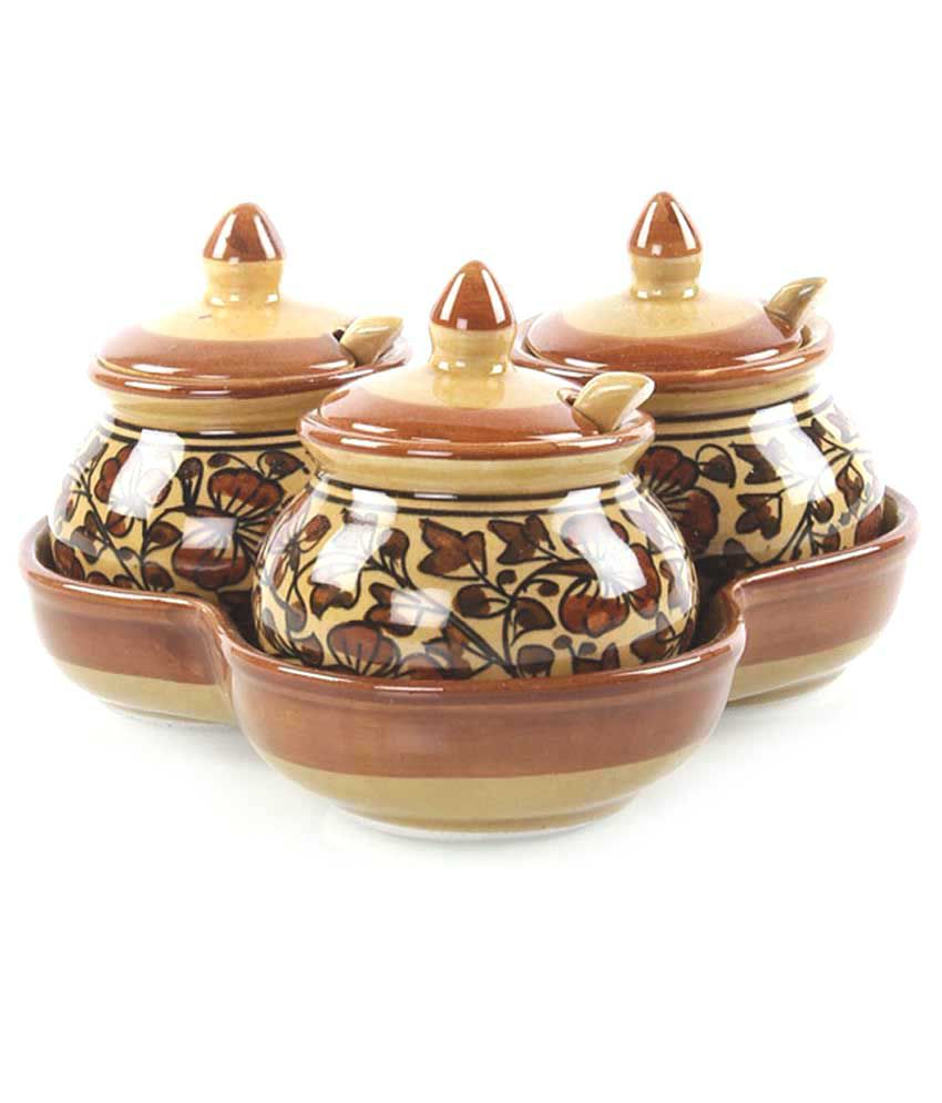 Vareesha Brown Ceramic Pickle Jars Set Of Three Buy