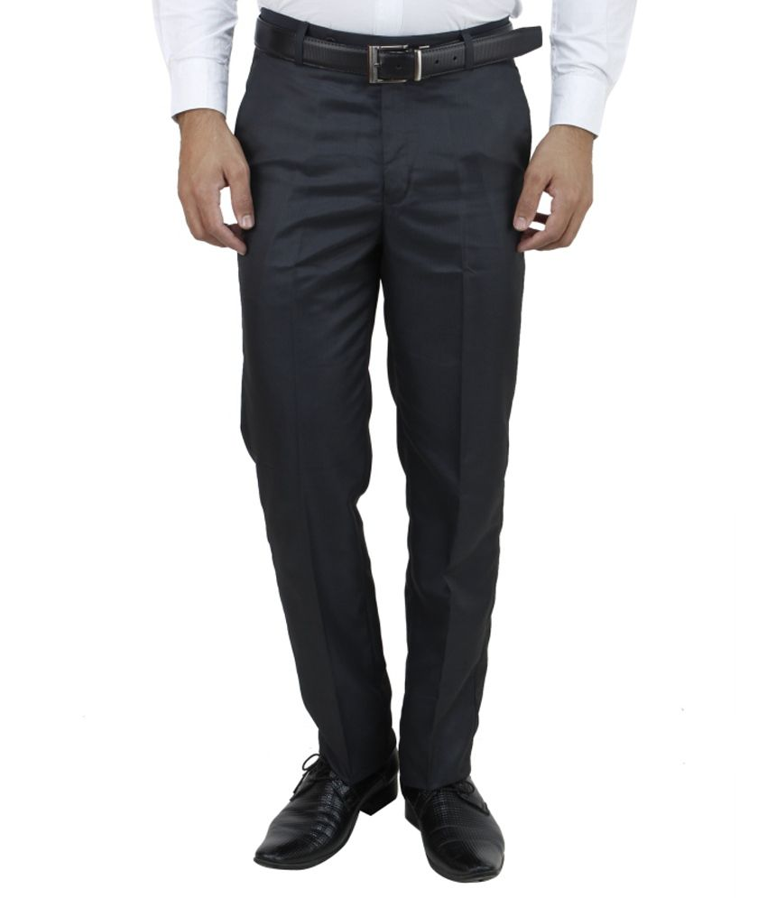 E Atavios Blue Regular Fit Formals Flat Trousers