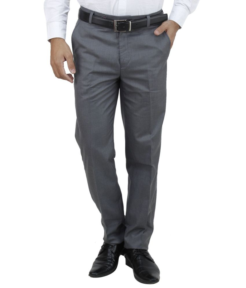 E Atavios Grey Regular Fit Formals Flat Trousers