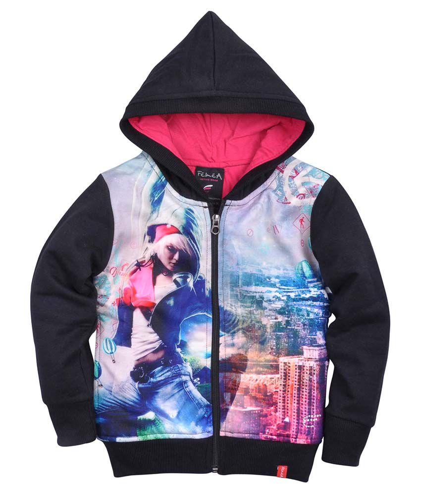 Femea Black Fleece Sweatshirt With Hood