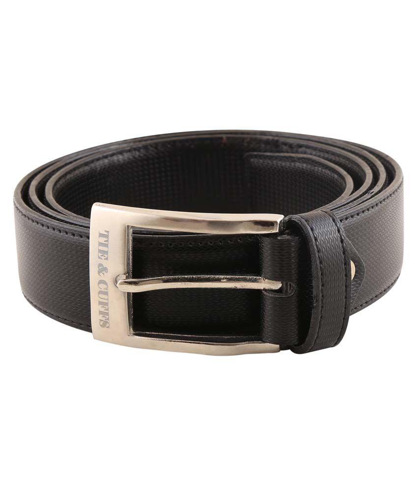 Tie & Cuffs Black Leather Formal Belt For Men