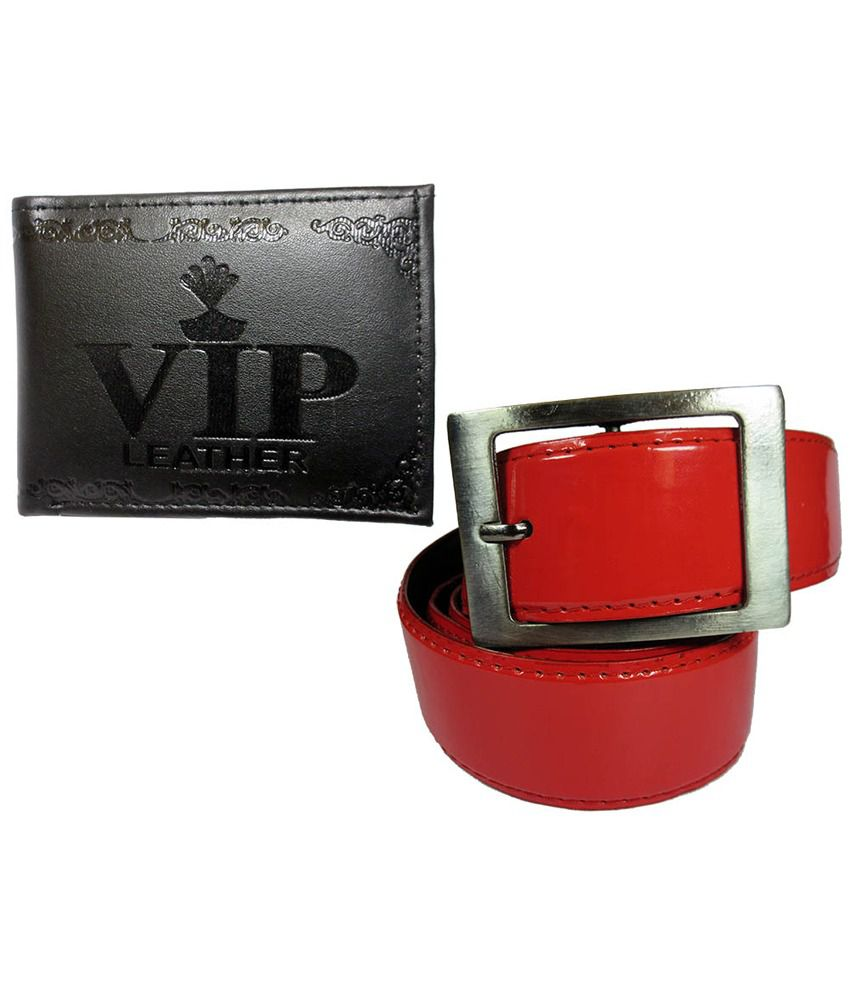 Apki Needs Combo Of Red Belt And Black Wallet For Men
