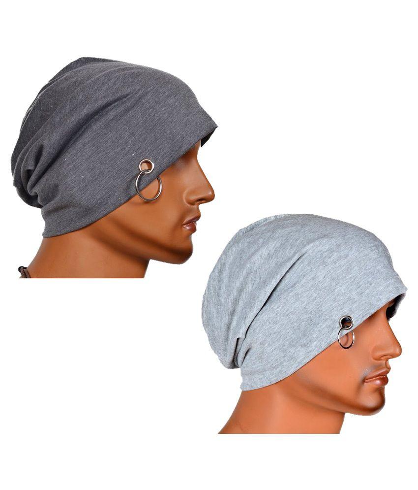 Atyourdoor Grey Cotton Casual Beanies Cap for Men - Pack of 2
