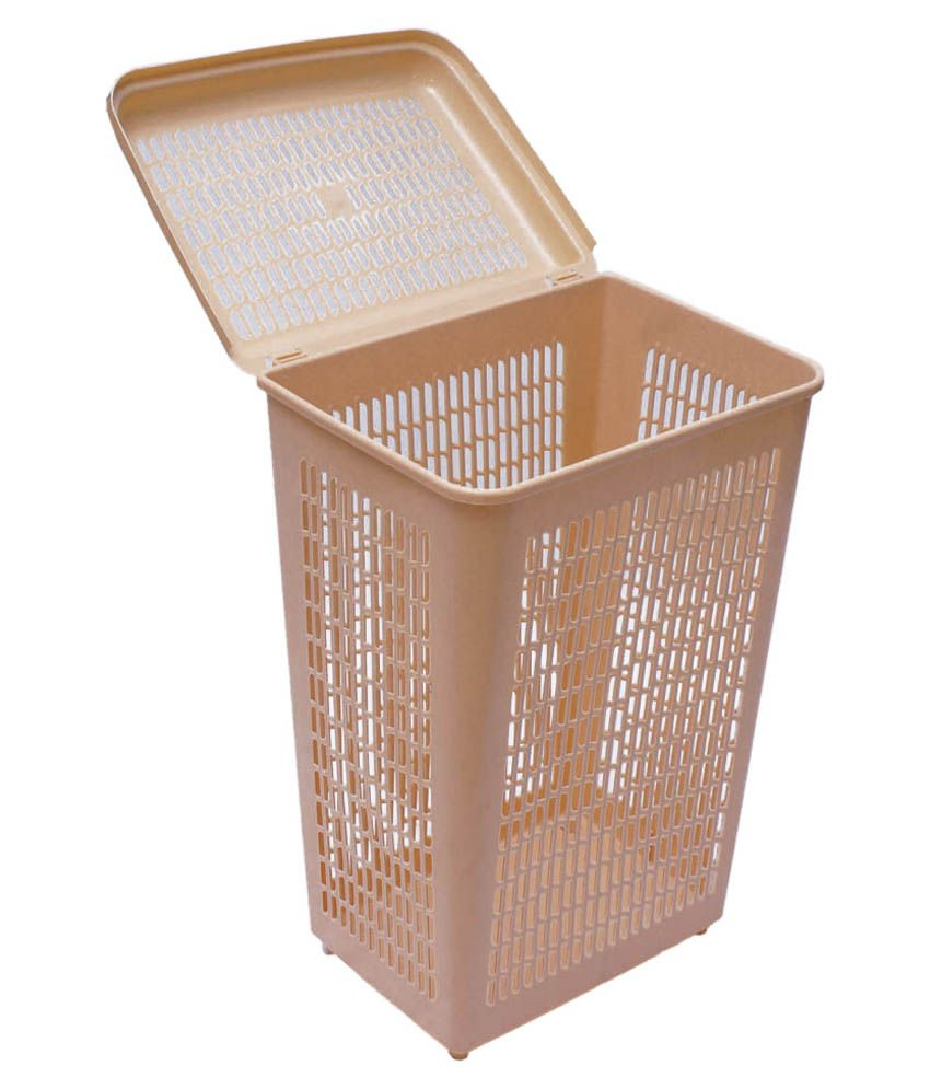 Inside Designs Beige Virgin Plastic Laundry Basket Price