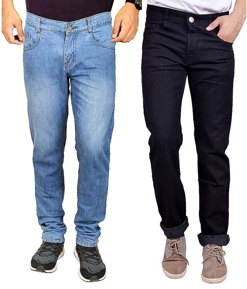 Masterly Weft Multicolor Regular Fit Jeans - Pack Of 2