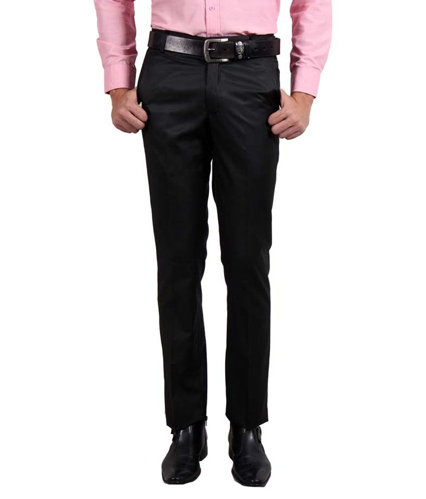 Solemio Black Slim Flat Trouser