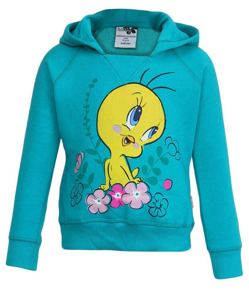 Tweety Turquoise With Hood Sweatshirt