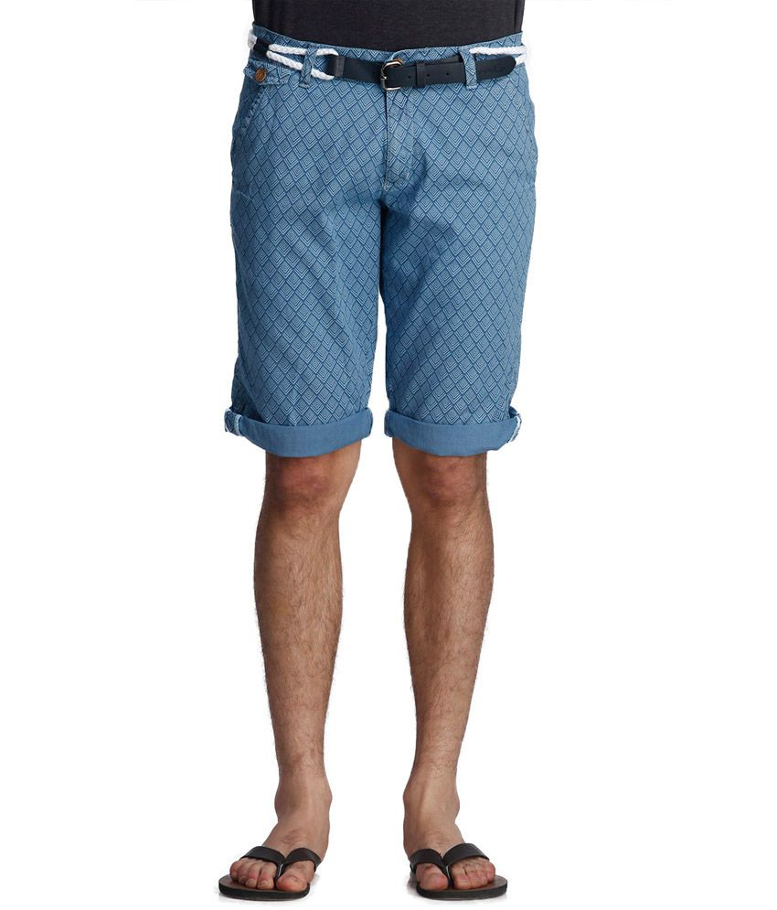 Beevee Blue Cotton Blend Shorts With Belt