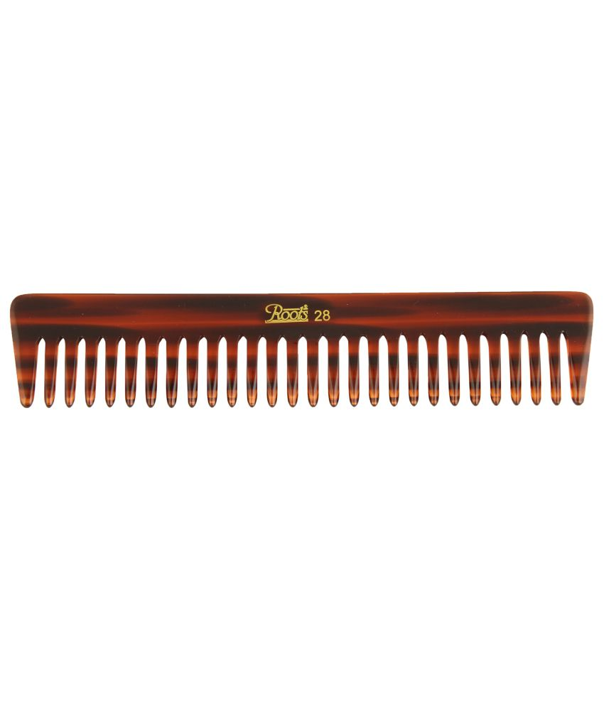 Roots Brown Wide Teeth Comb for Wavy/Curly Medium Length Hair (Pack of 5)