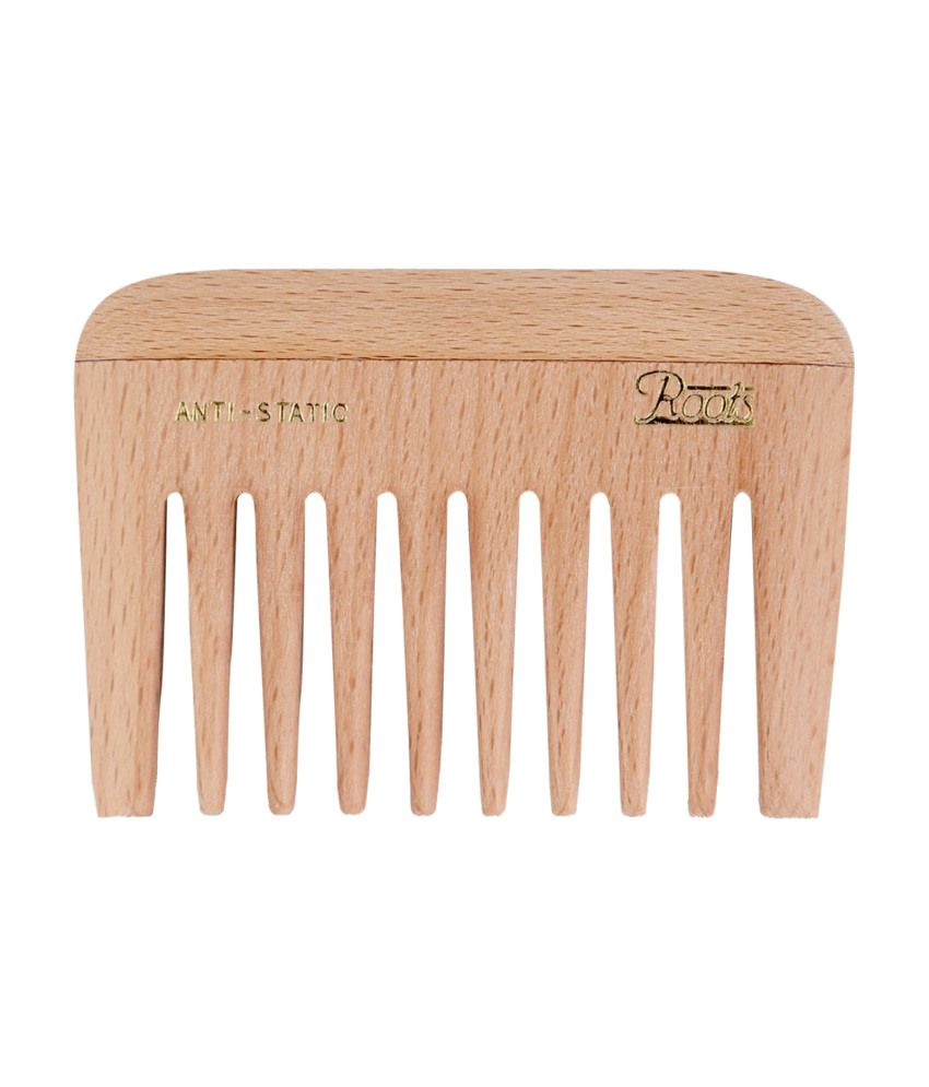 Roots Wooden Wide Teeth Travel Comb for Wavy/Curly Hair (Pack of 7)
