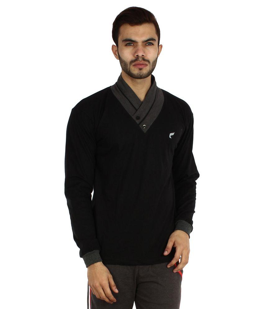 V3squared Black Cotton T-Shirt