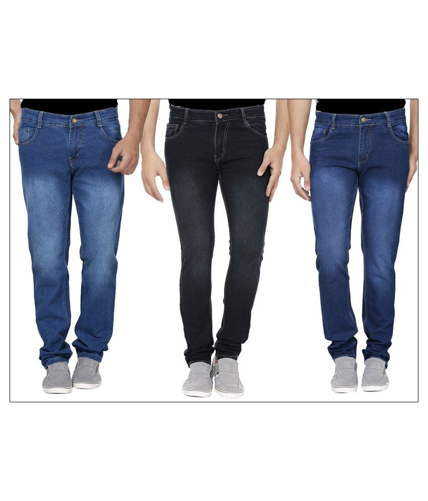 Ansh Fashion Wear Blue and Black Regular Fit Jeans - Pack of 3