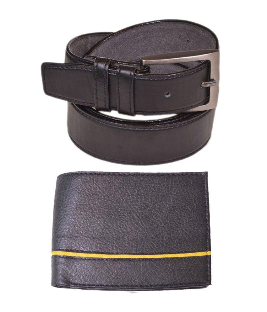 Daller Black Pin Buckle Belt with Wallet for Men