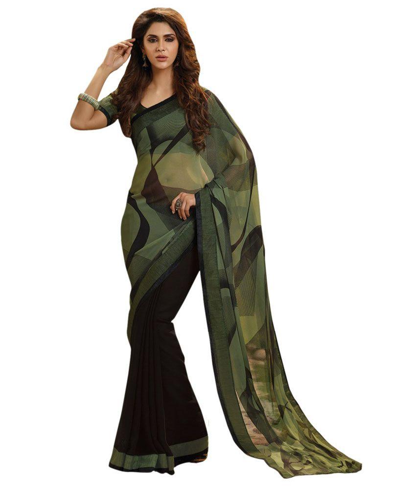 Jiya Green Faux Chiffon Saree