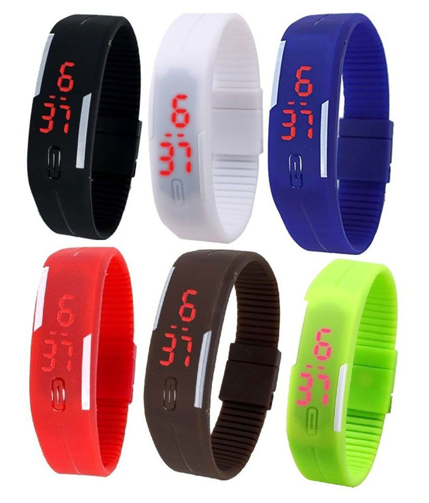 Pappi Boss Combo Of 6 Multicolour Silicone Digital Led Band Watch For Men
