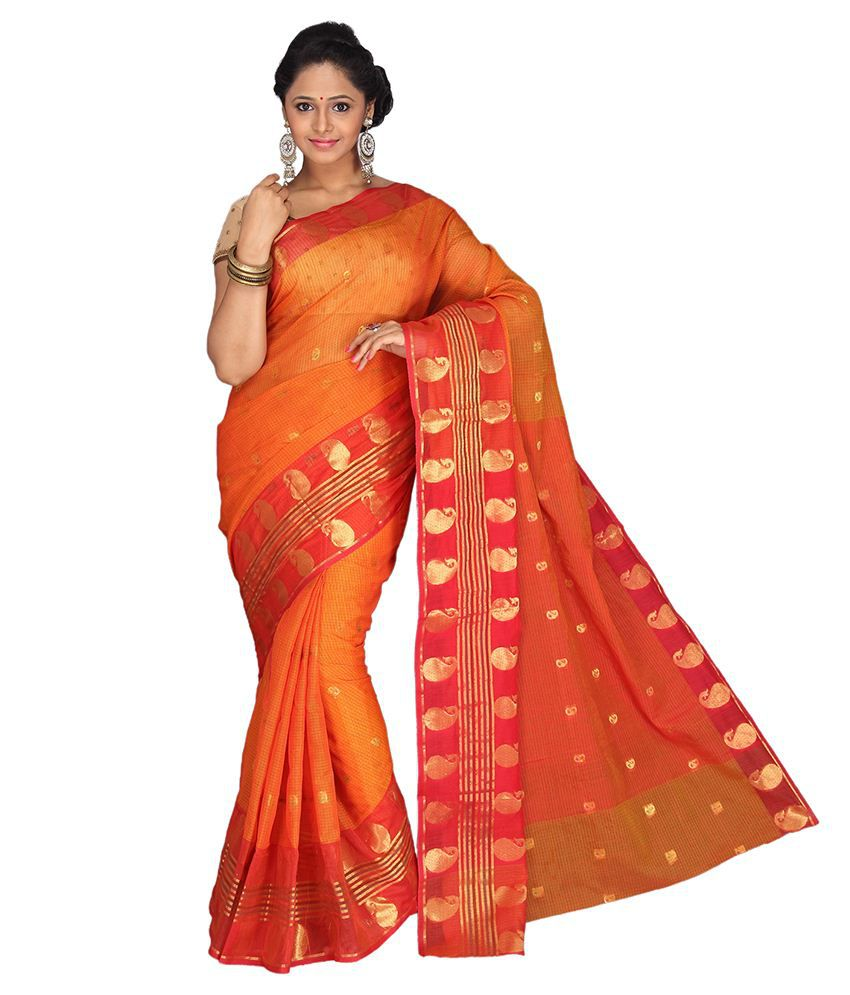 Pavecha's Orange Cotton Silk Saree
