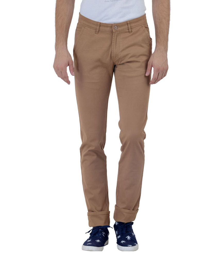 Satyam Garments Beige Regular Fit Formal Flat Trousers