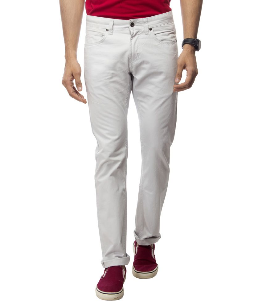 Satyam Garments White Regular Fit Formal Flat Trousers