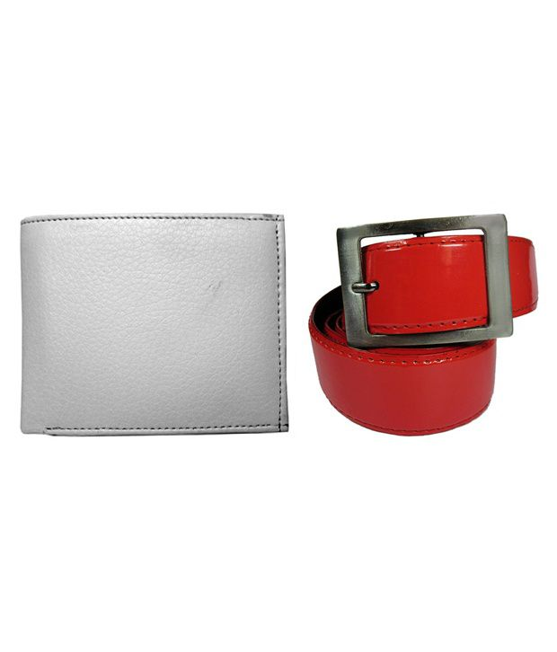 Apki Needs Red Casual Wear Belt With Gray Wallet