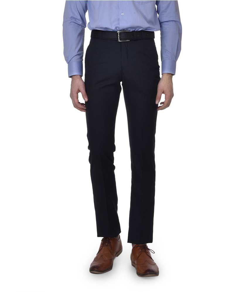 Kingswood Blue Slim Fit Formal Flat Trouser
