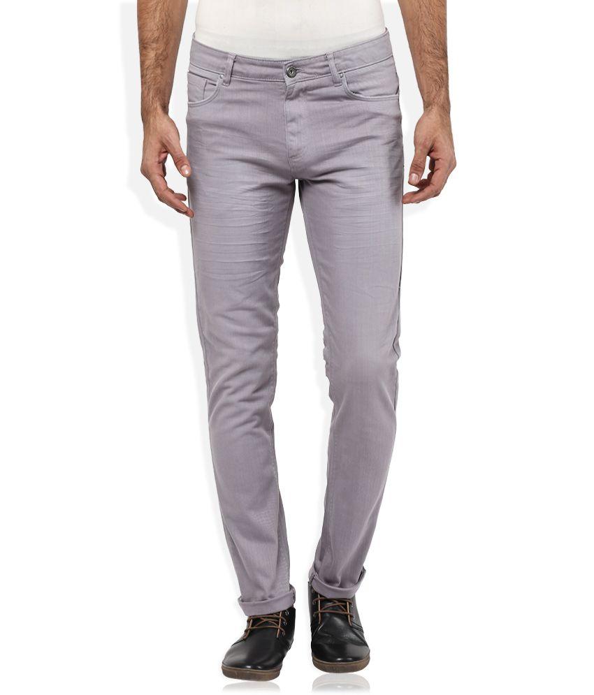 Spykar Grey Slim Fit Trousers