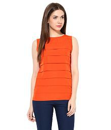 3c9ad1600 Quick View. Miss Chase Orange Pleated Tops For Women Sleeveless Boat Neck  Casual Wear