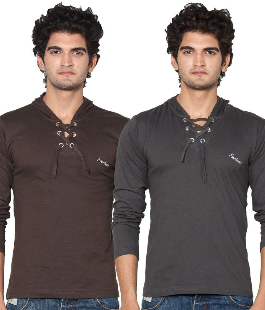Stylogue Brown and Grey Cotton Hooded T-shirts (Pack of 2)