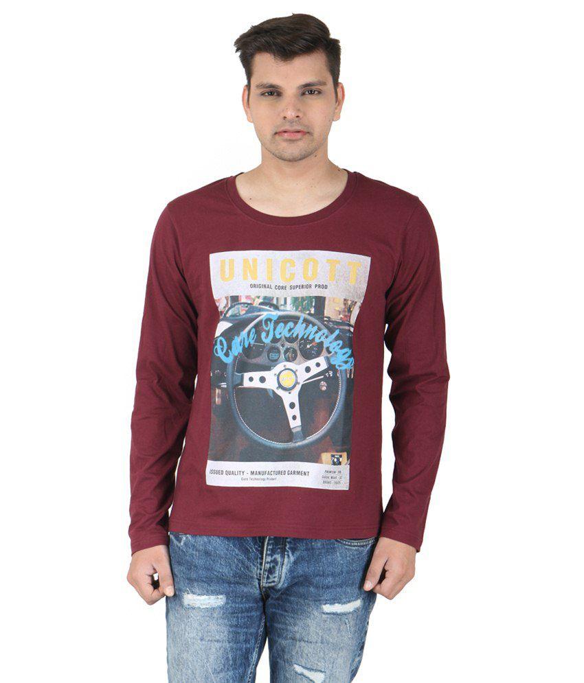 Corrida Maroon Cotton Blend T-Shirt