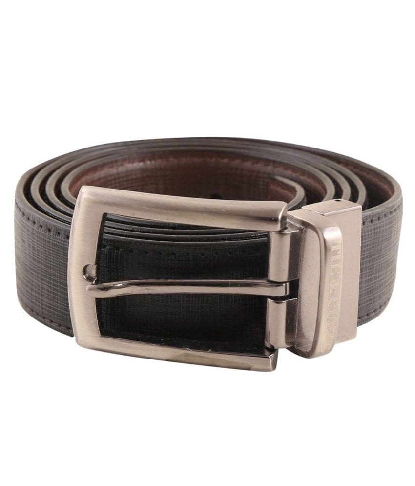 Tie & Cuffs Black Formal Reversible Belt For Men