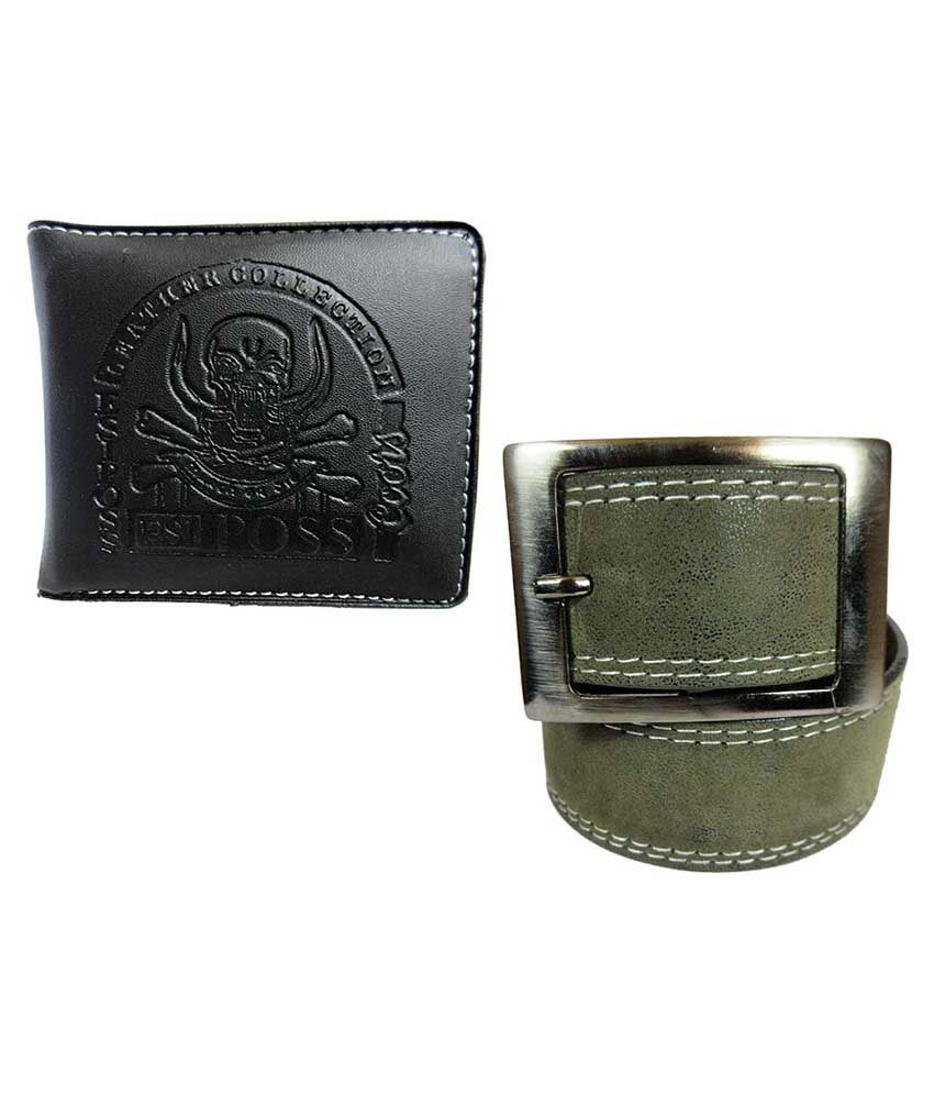 Apki Needs Green Casual Belt With Wallet For Men