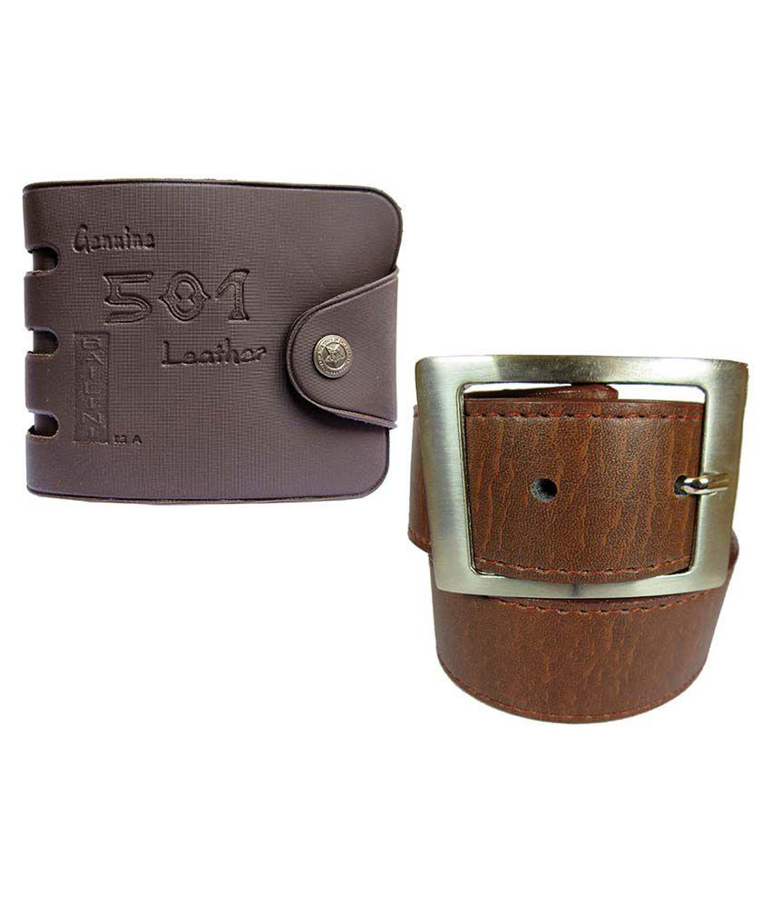 Apki Needs Tan Casual Belt With Wallet For Men