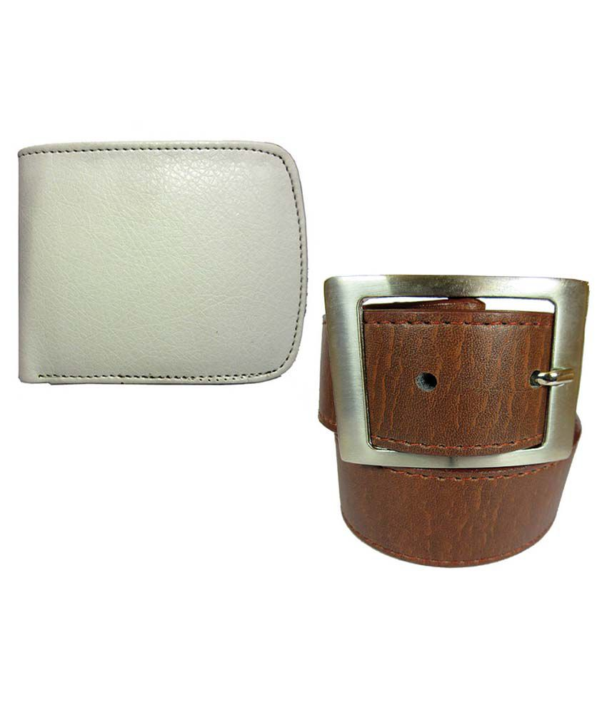 Apki Needs Tan Casual Belt With Wallet For Men