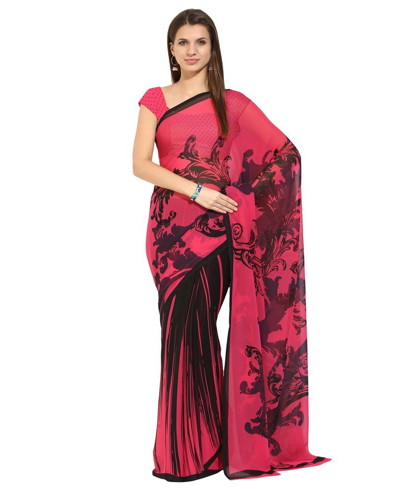 Lookslady Pink Faux Georgette Saree