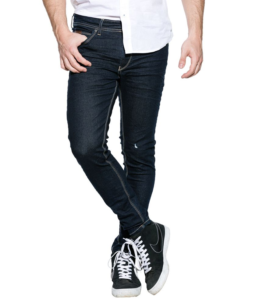 Spykar Blue Raw Denim Skinny Fit Jeans