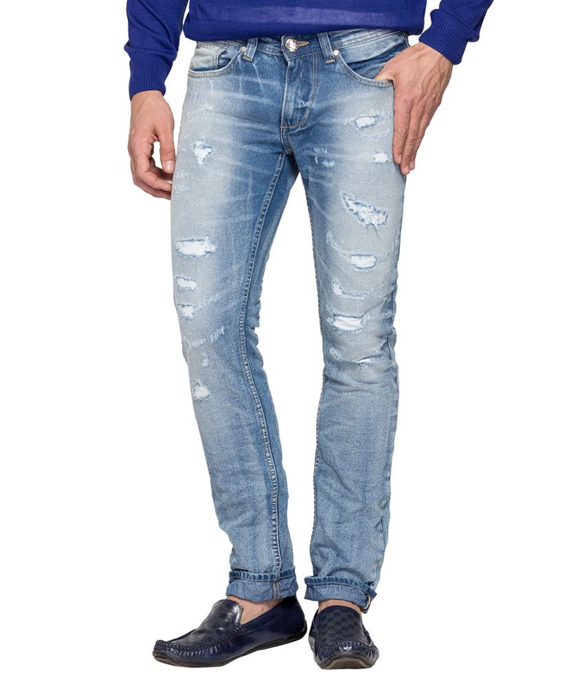 Spykar Blue Distressed Slim Fit Jeans