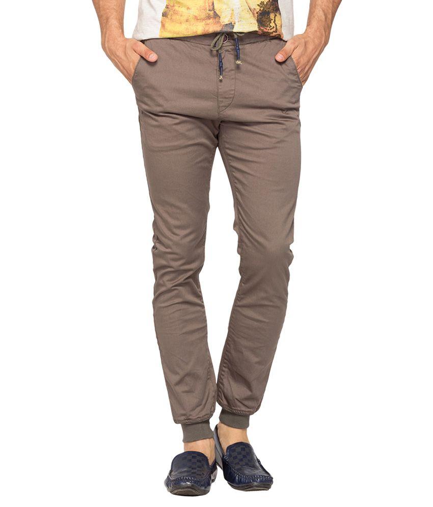 Spykar Grey Regular Fit Trousers