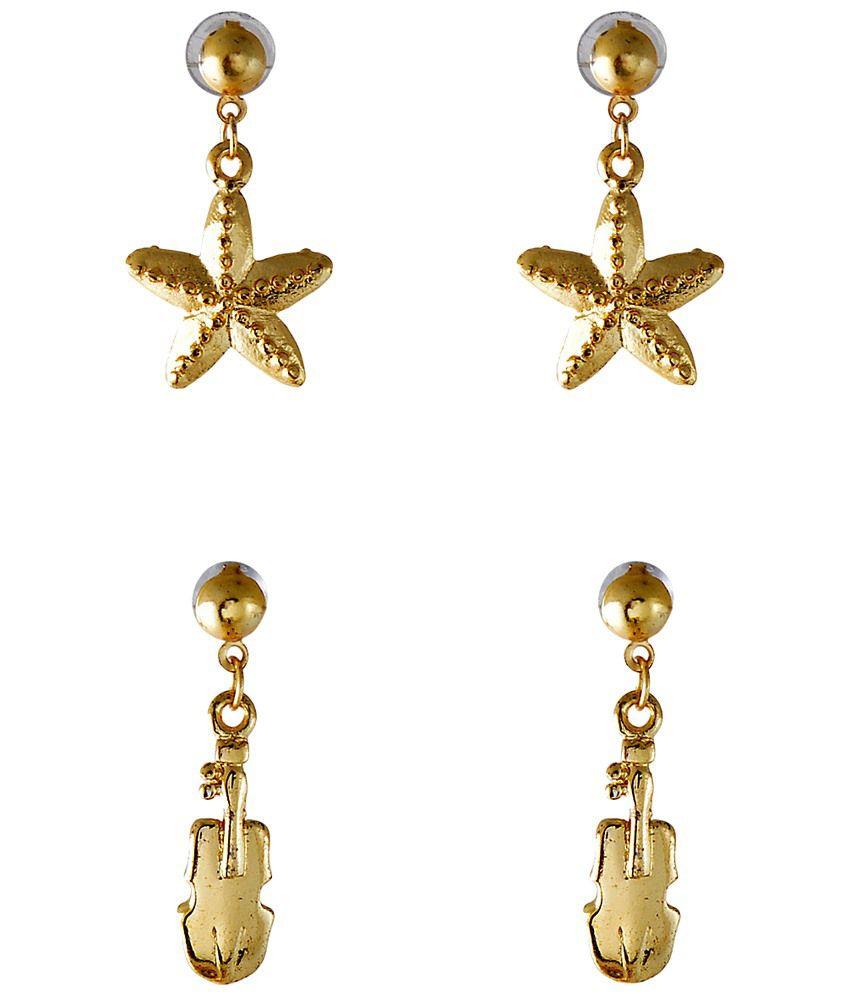 Crunchy Fashion Golden Antique Hanging Earrings