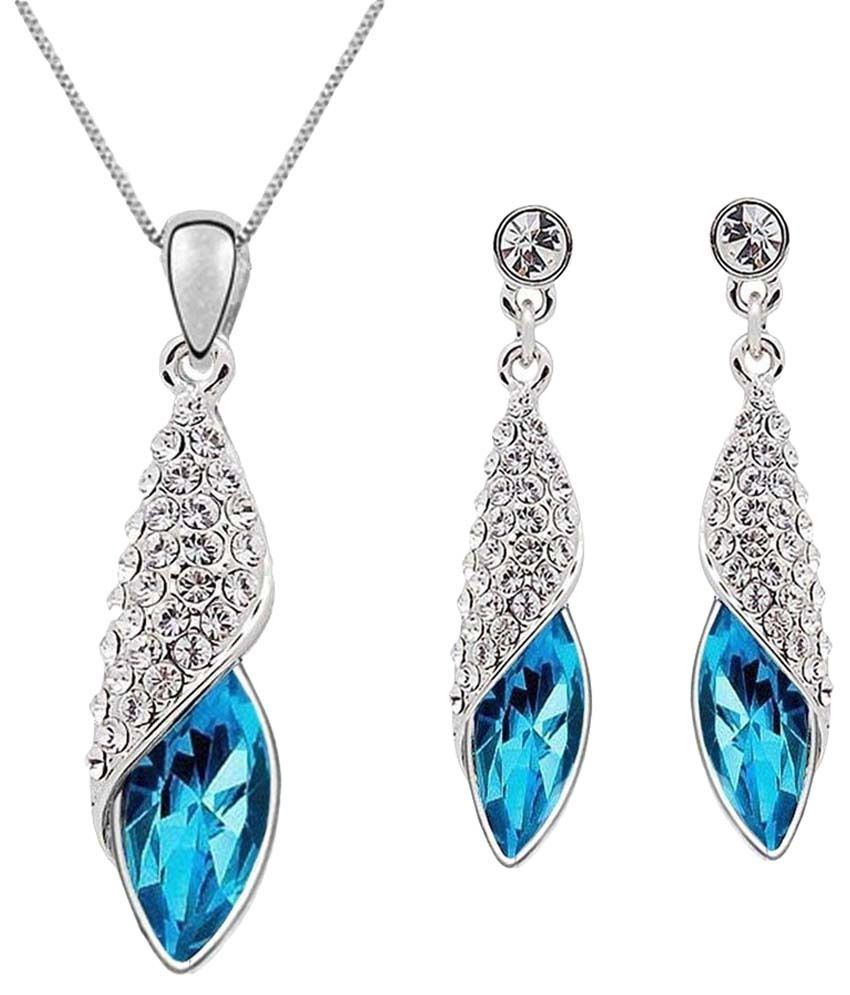 Crunchy Fashion Silver & Blue Teardrop Necklace Set